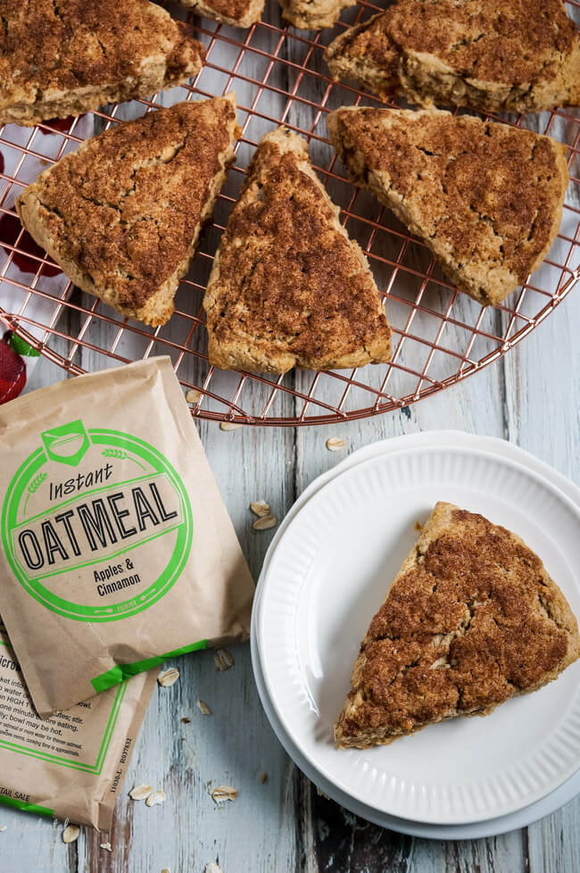 Instant Oatmeal Scones on a cooling rack.
