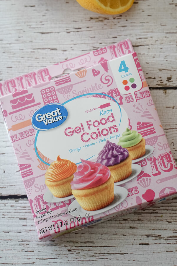 A box of food coloring used to make the rainbow filling.