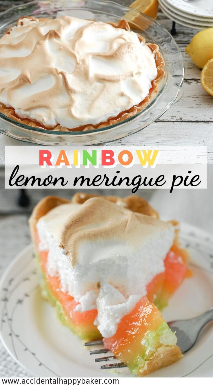 Fun and fruity! Rainbow Lemon Meringue pie has the fresh sweet citrus flavor of classic lemon meringue with a colorful rainbow surprise hiding inside. #lemonmeringuepie #rainbowdessert #lemon #rainbow #accidentalhappybaker