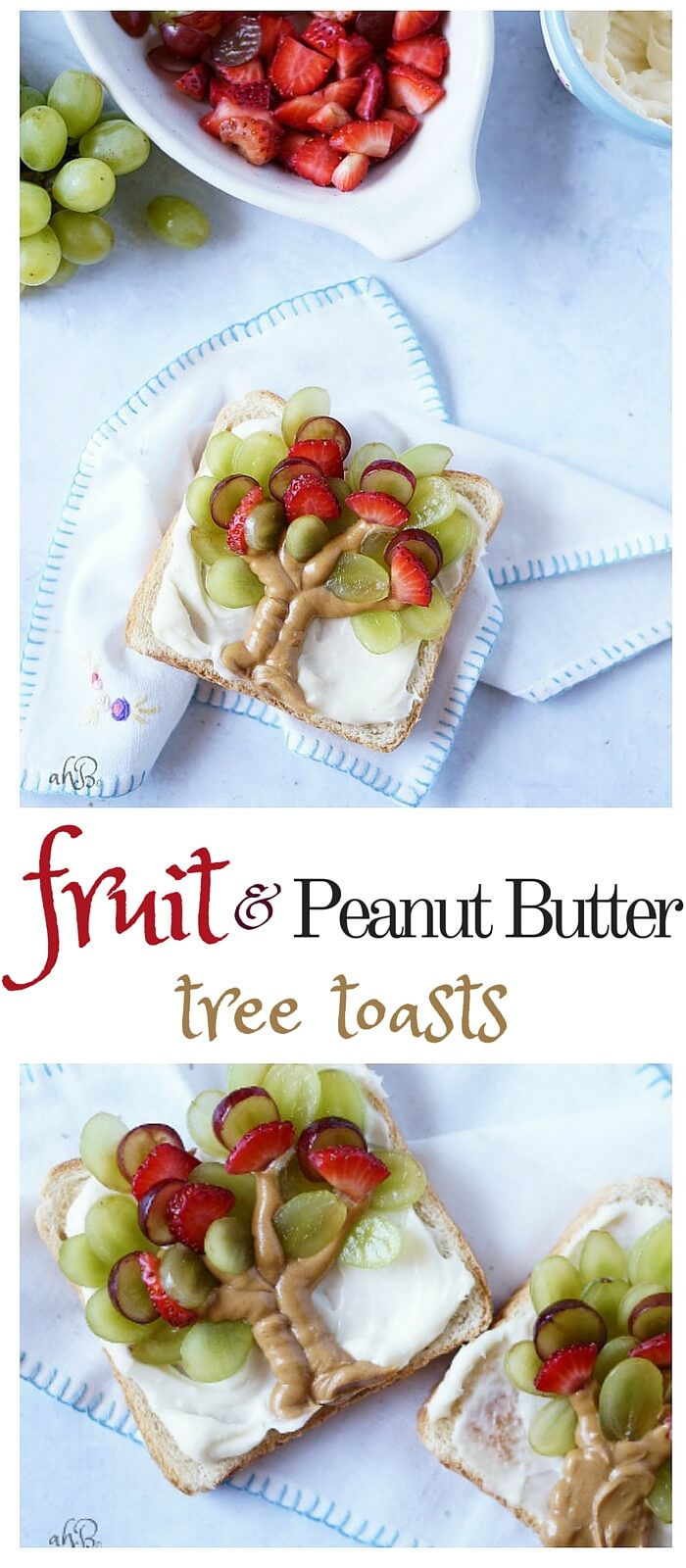 A new twist on PB and J. Fresh fruit, protein, dairy, grain, served up in a cute way your kids will love!