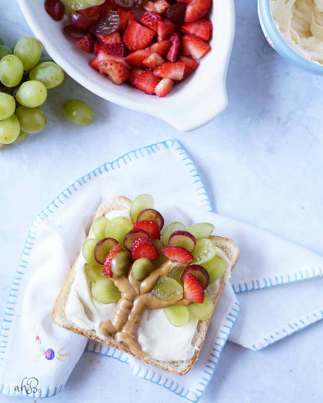 Fresh fruit and peanut butter toast