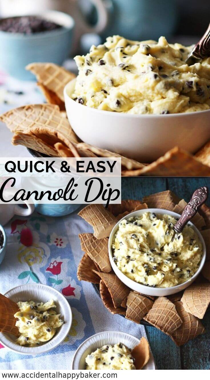 This cannoli dip couldn't be any easier! Just a few minutes to whip up, this creamy sweet ricotta dip tastes just like a classic cannoli but with a fraction of the work. #cannoli #cannolidip #dessertdip #accidentalhappybaker
