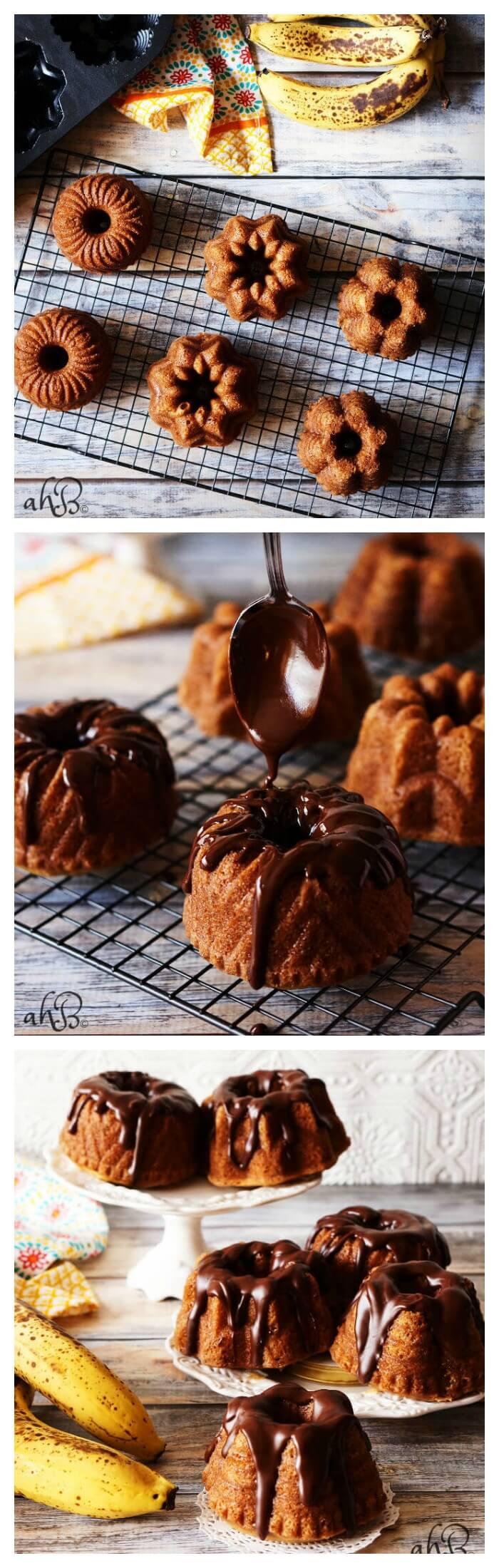 Mini Banana Bundt Cakes with Chocolate Nutella Ganache