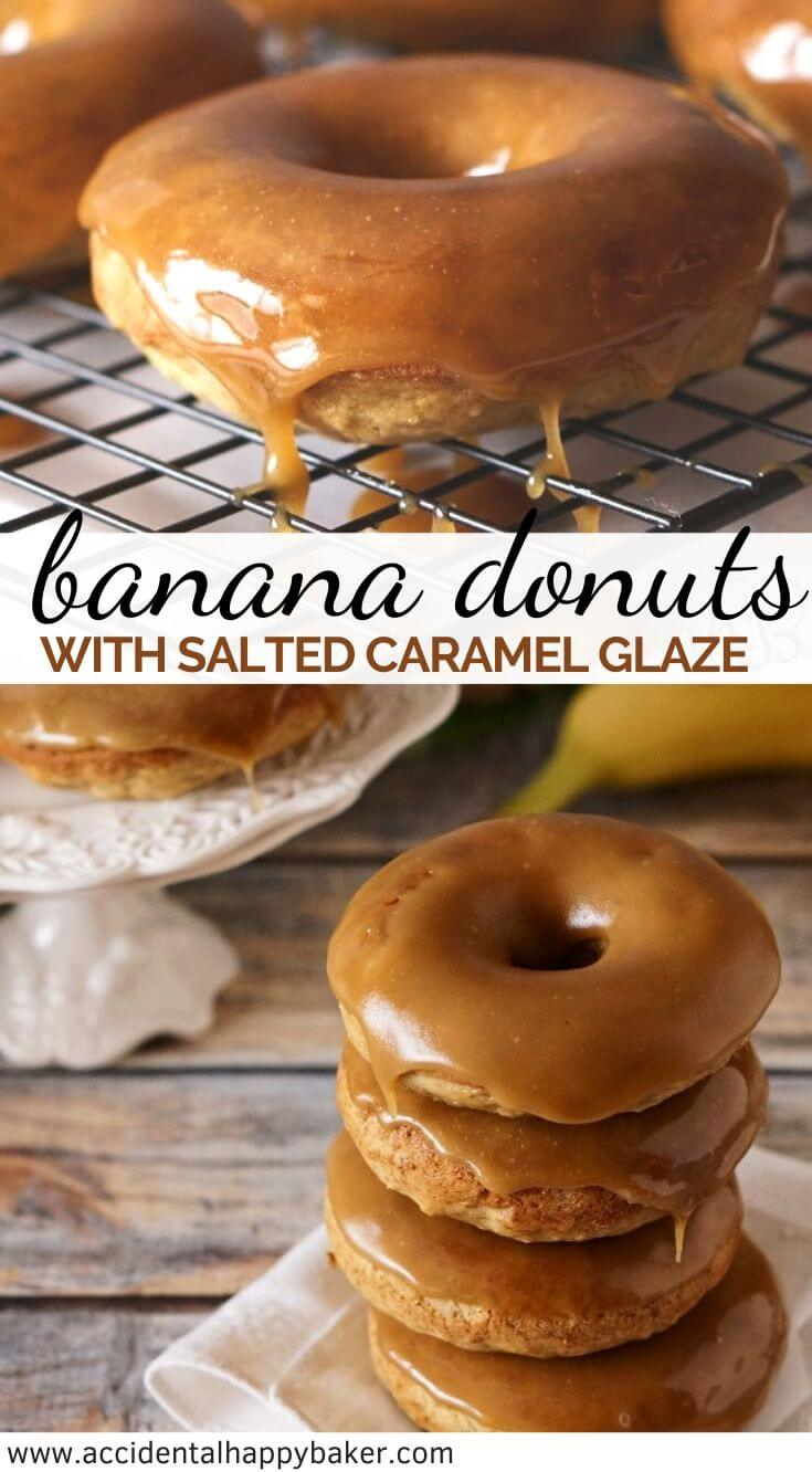 Moist banana bread-like donut dipped in a gorgeous buttery dark caramel glaze that sets up so pretty, with a pinch of salt to even out the sweetness. #bananadonuts