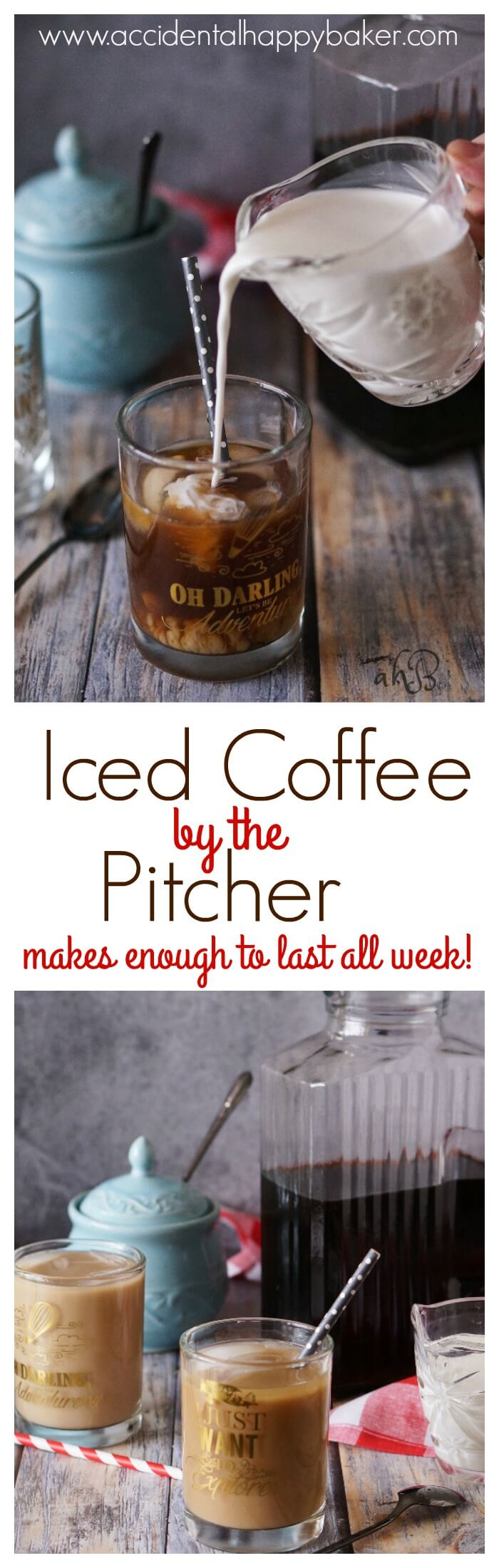 3 simple steps and you've got a pitcher of delicious iced coffee to last you the week! Say goodbye to expensive, over sweetened commercial iced coffee with this easy DIY recipe found on www.accidentalhappybaker.com @AHBamy