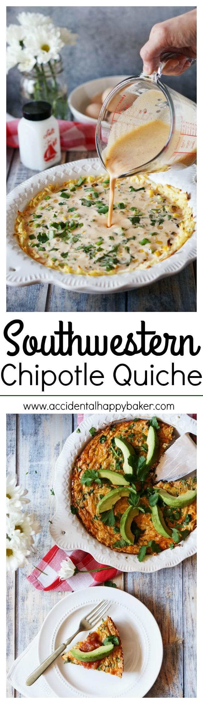 Spicy and smoky chipotles bring the flavor in this veggie loaded Southwestern Chipotle Quiche. Full of roasted corn, black beans, green onions, cheddar and a hashbrown potato crust. Recipe on www.accidentalhappybaker.com @AHBamy #ad #VivaLaMorena