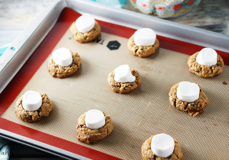 Soft and chewy s'mores cookies.