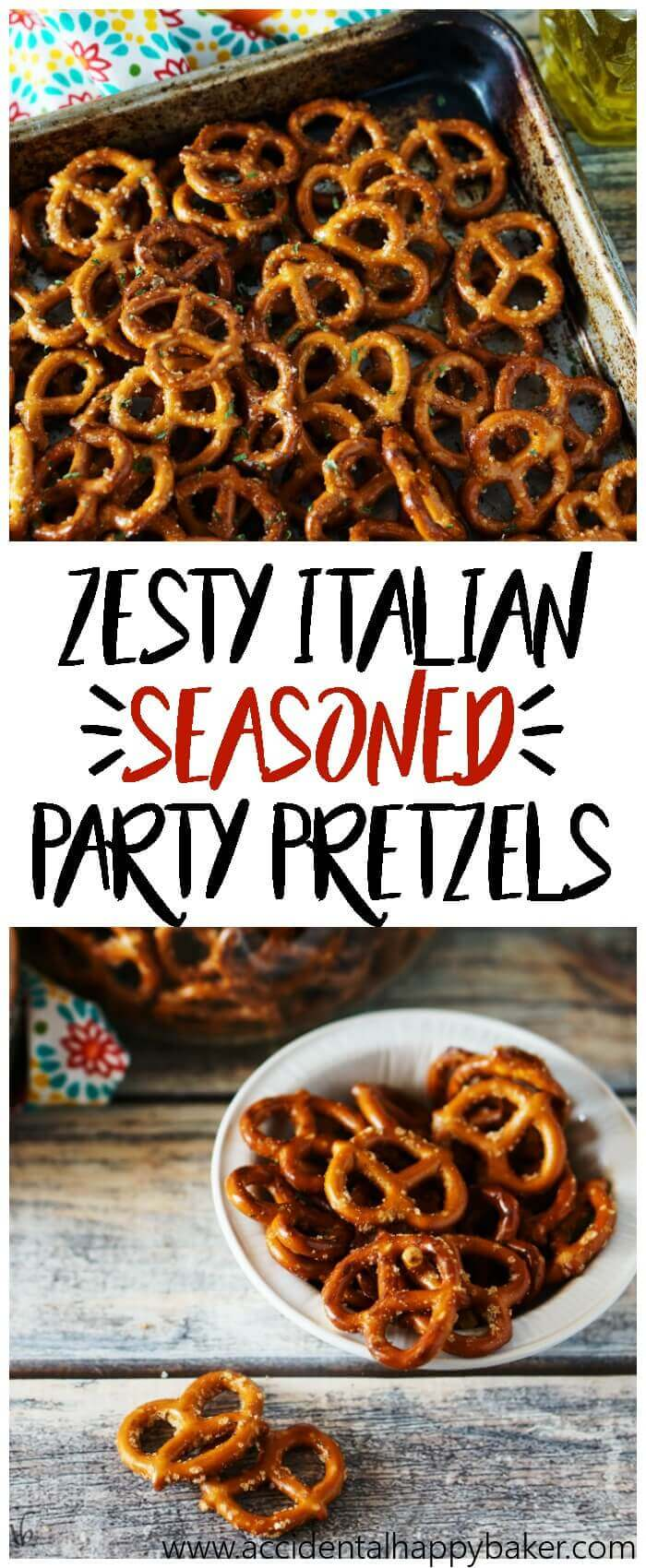 Zesty Italian Seasoned Pretzels are addictive! With a zippy garlic flavor and a bite of spiciness you'll keep going back for more. A perfect party snack.