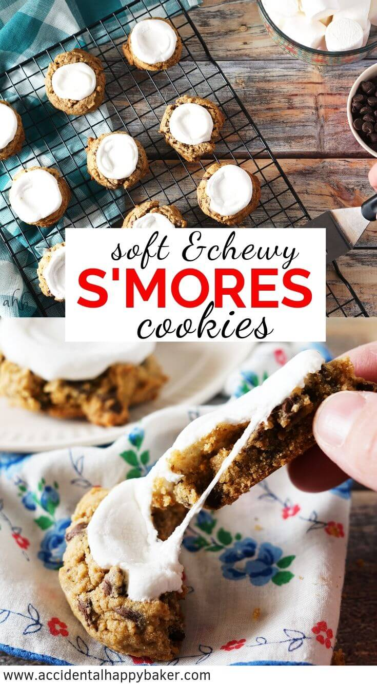 Soft and Chewy Smores Cookies - Loaded with chocolate chips, marshmallows, and graham cracker flavor these are the best smores you'll ever eat! #smorescookies #smores #graham #chocolate #accidentalhappybaker