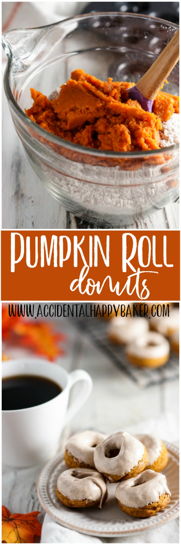 Pumpkin Roll Donuts, Bite-sized, spiced just right pumpkin donuts are topped with a cinnamon cream cheese glaze to  create perfectly poppable pumpkin roll donuts.
