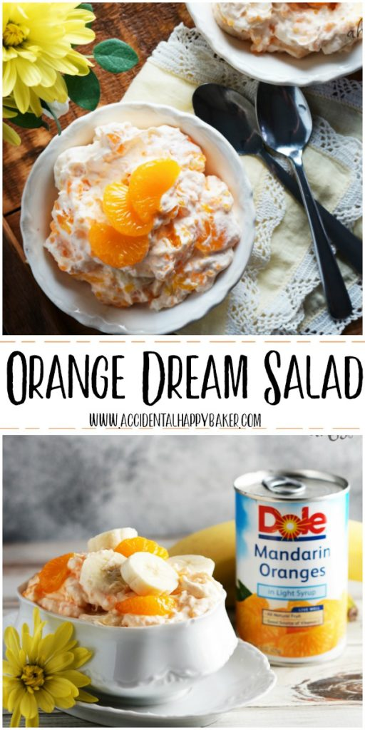 Orange Dream Salad. Light, creamy and sweet, this dessert salad has a delicious flavor combination of oranges and vanilla and is full of delicious Dole Mandarin oranges and bananas.