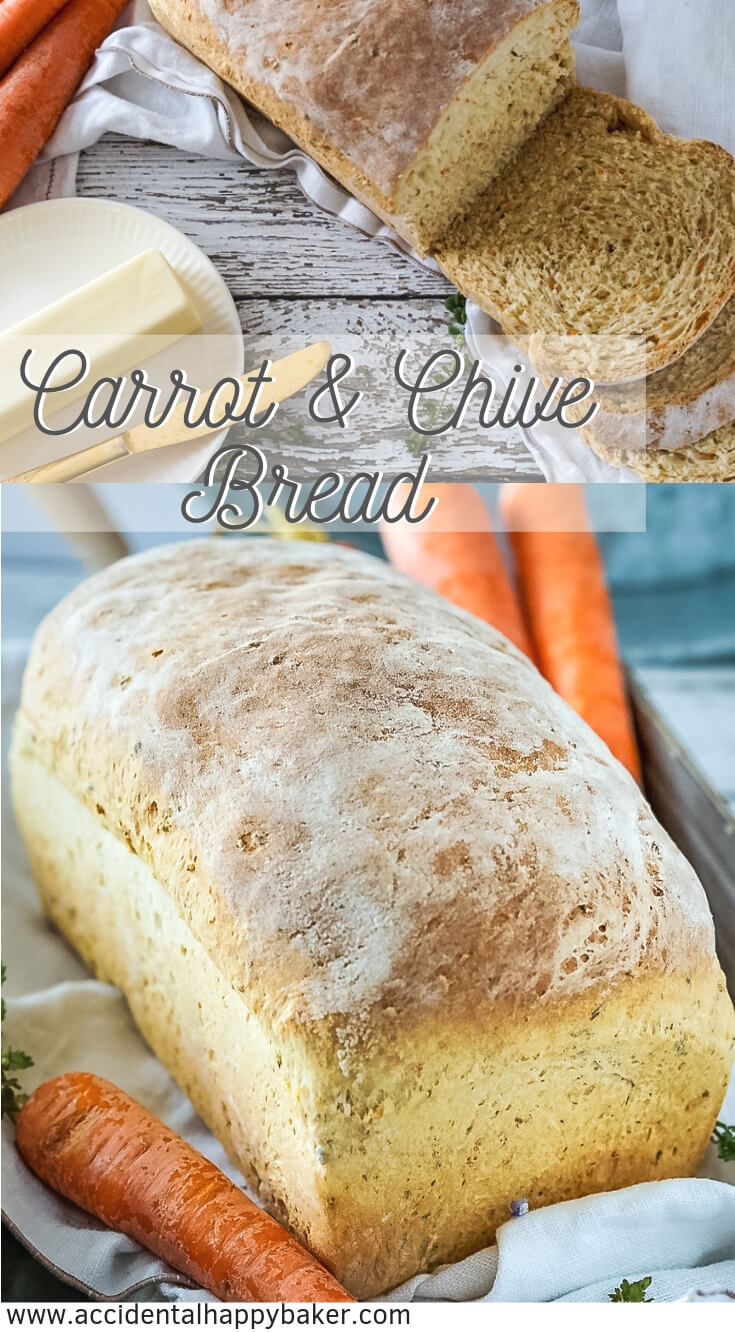 Homemade carrot and chive bread is hearty, rustic and speckled throughout with orange and green from the carrots and chives. #homemadebread #carrotbread #yeastbread #breadrecipe #accidentalhappybaker