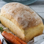 A loaf of carrot and chive bread.