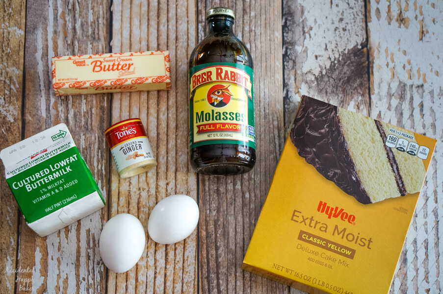The ingredients you will need: boxed yellow cake mix, eggs, ginger, buttermilk, butter, and molasses.