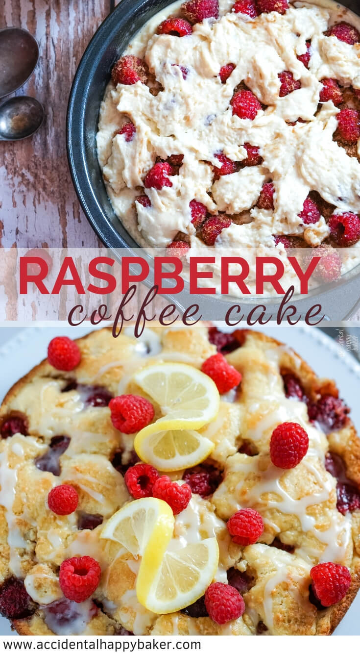 Raspberry coffee cake has tender vanilla cake surrounding juicy fresh raspberries and is topped with a bright lemon glaze. No mixer required and ready in about 45 minutes. #raspberry #coffeecake #coffeecakerecipe #accidentalhappybaker