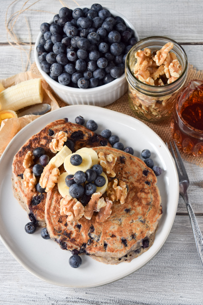 Wicked Blueberry Banana Pancakes (Vegan, Low-Fat)