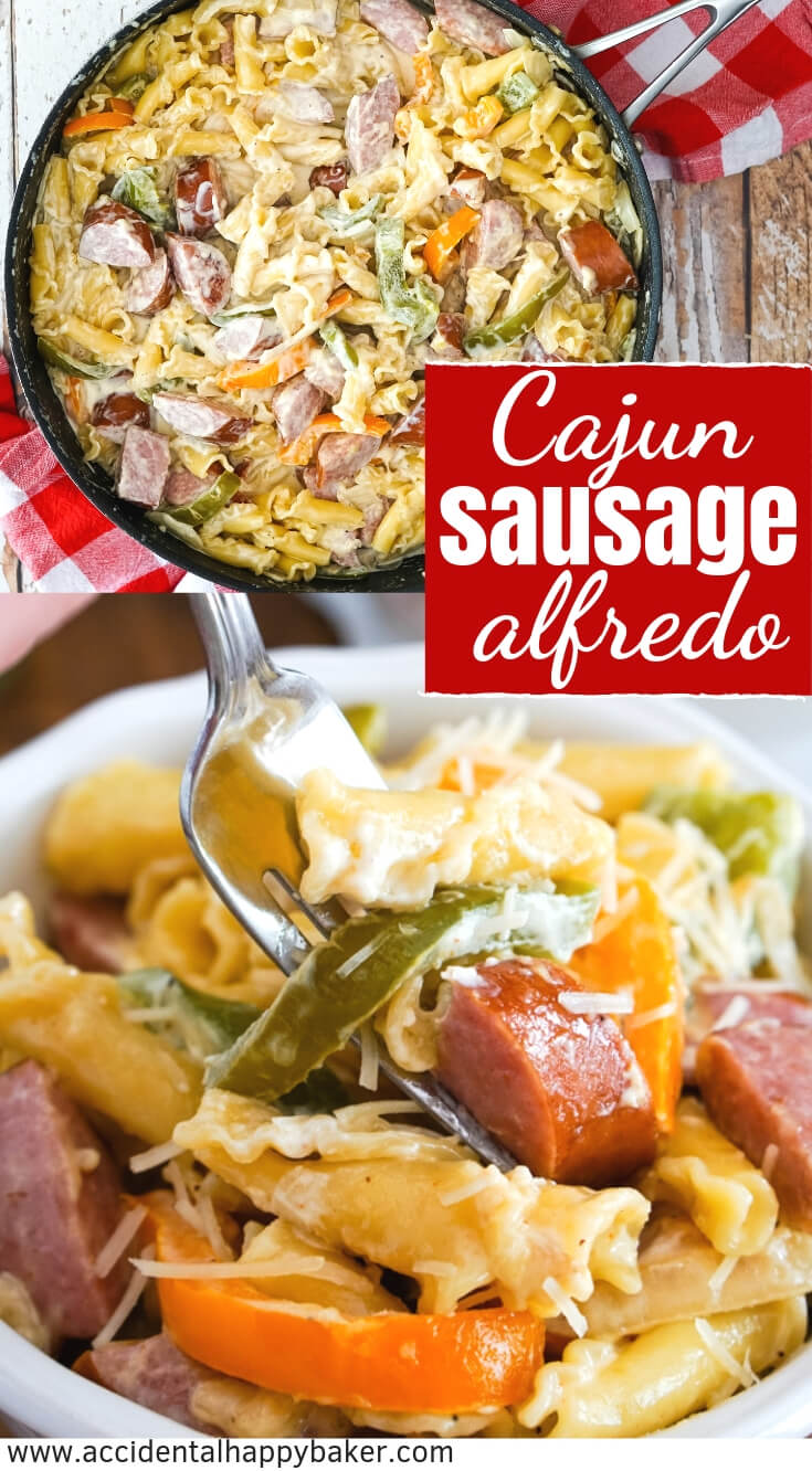 Cajun Sausage Alfredo is a cheap weeknight dinner. It's quick and easy to make. It only takes about 15 minutes and uses 8 ingredients, 9 if you like a little extra spice. And it tastes amazing! #easyweeknightdinner #pasta #alfredo #sausage #cajunsausagealfredo #accidentalhappybaker