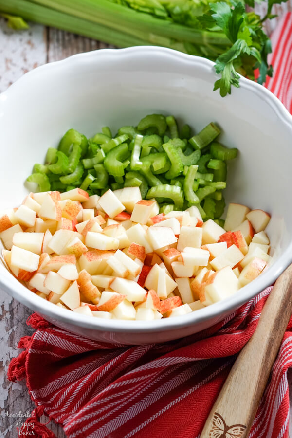 Chopped apples and celery make the base of the apple coleslaw