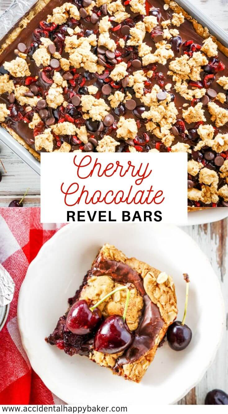 Fresh cherries are baked into these cherry revel bars for a decadent and dark fudgy chocolate cookie bar that makes a batch big enough for a crowd! #cherryrevelbars #revelbars #cherrychocolate #cookiebars #accidentalhappybaker