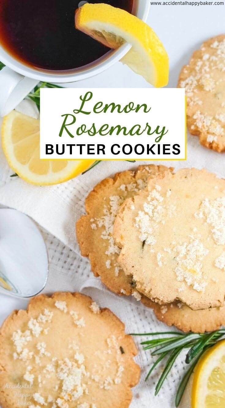 Lemon Rosemary Cookies, simple fresh flavors of lemons and rosemary meld together in these buttery shortbread cookies to make an unassuming cookie with a dynamic flavor combination. #lemon #rosemary #cookies #shortbread #accidentalhappybaker