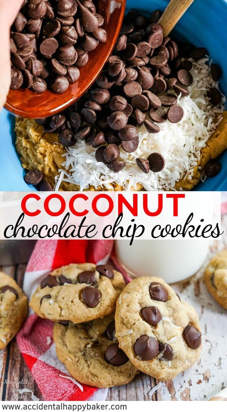 Chewy Coconut Chocolate Chip cookies are the perfect combination between chewy macaroons and classic chocolate chip cookies. #BakeBetterCookies #chocolatechipcookies #coconutchocolatechip #coconutcookies #chewycookies