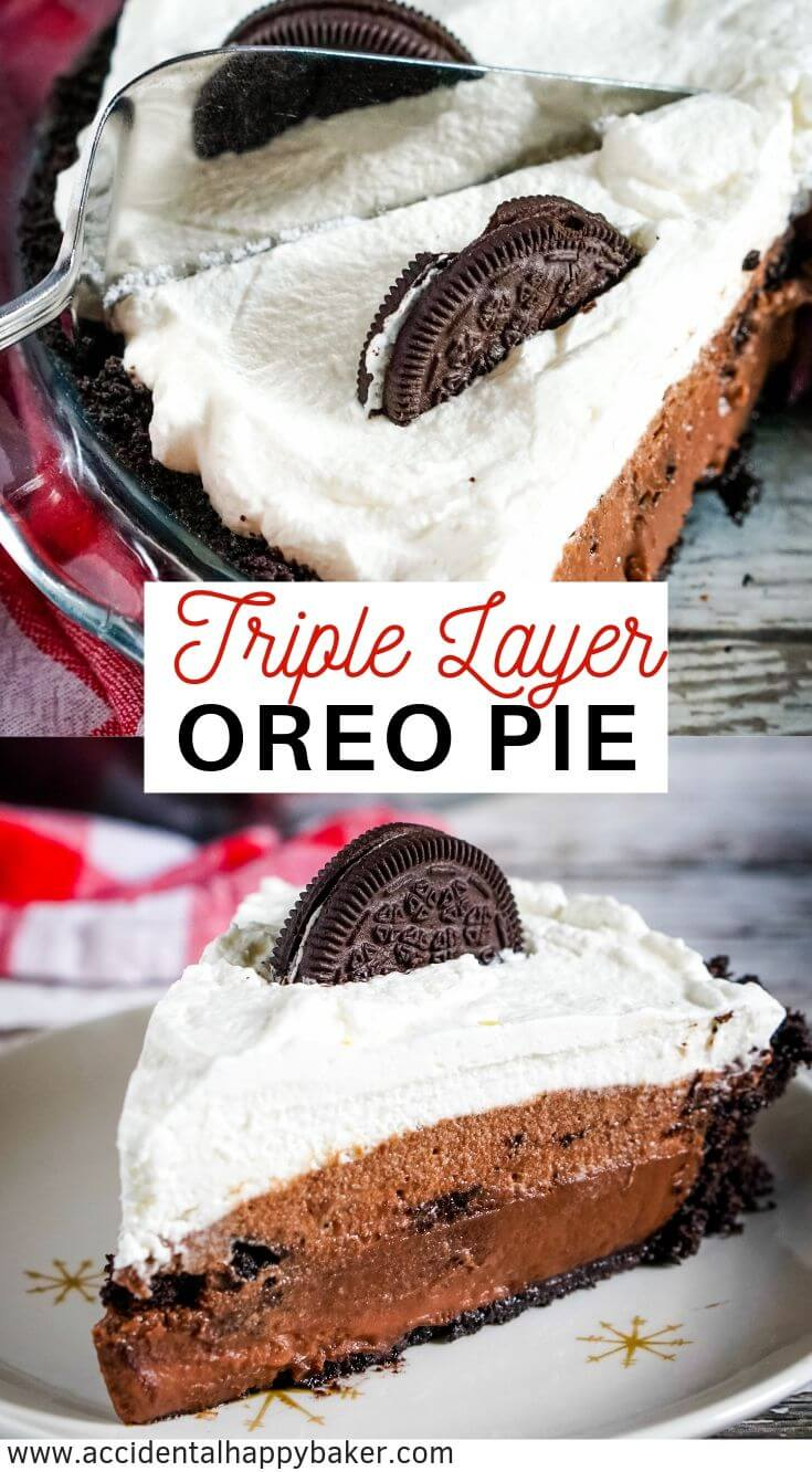 Layered Oreo Pie is rich, creamy, and decadent while also being incredibly easy to make from scratch! Make this chocolate no bake pie when you've got someone you want to impress or when you've got huge craving for chocolate. #oreopie #nobake #chocolatepie #chocolatecreampie