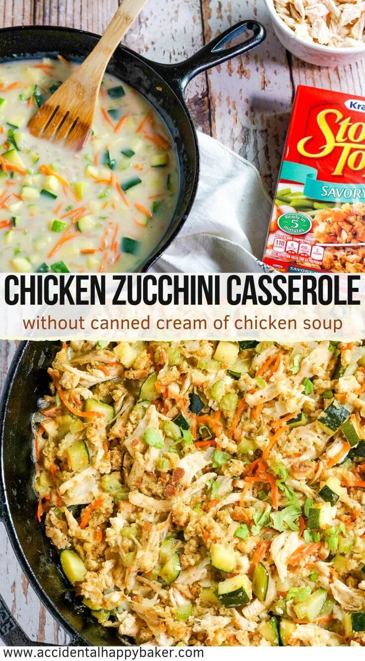Chicken Zucchini Casserole is the perfect hearty weeknight dinner and a great way to sneak in more veggies. Chicken, vegetables and stuffing are tossed with a creamy homemade sauce and then baked in the oven. #chickenzucchinicasserole #chickencasserole #zucchini #weeknightdinner #accidentalhappybaker