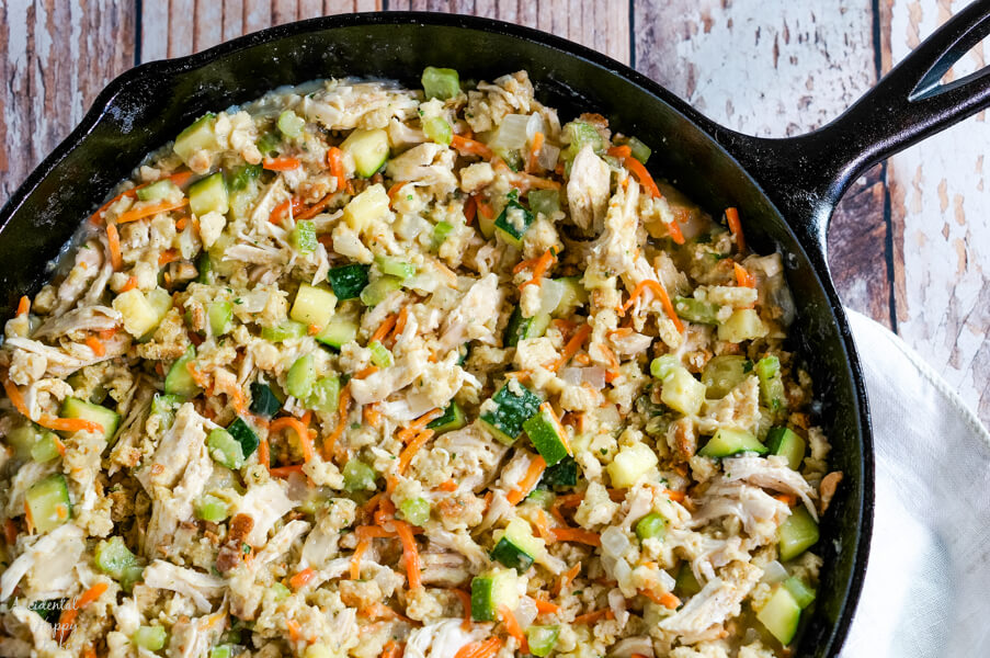 The last component added to the chicken zucchini casserole is stuffing mix.