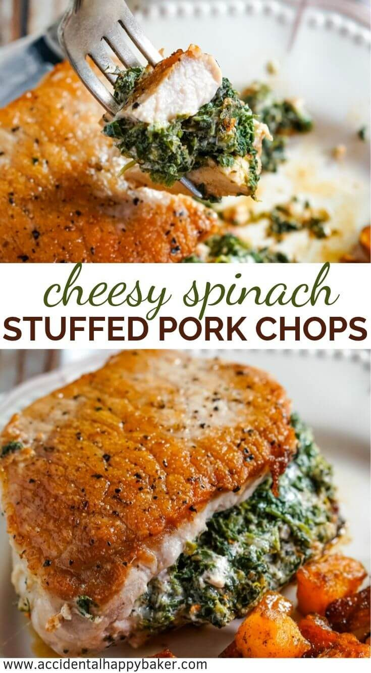 Golden browned pork chops stuffed with a creamy and savory spinach and cheese filling that tastes like spinach dip.These spinach stuffed pork chops look and taste fancy, but are on the table in about 20 minutes! #spinachstuffedporkchops #porkchops #italianporkchops