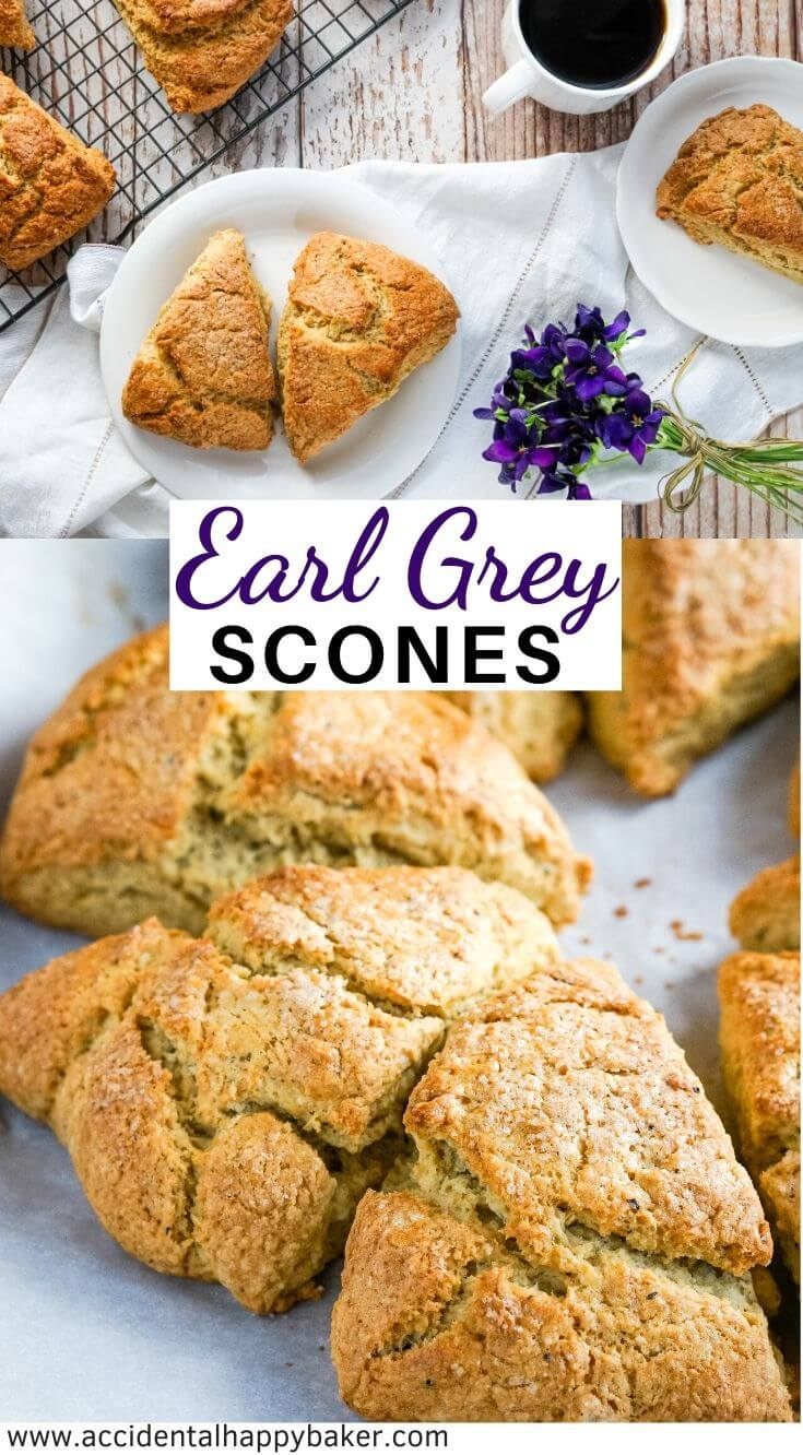 Tea lovers will delight in these Earl Grey Scones. Light and flaky scones are delicately flavored with Earl Grey tea for a tea time treat you can't resist. #sconesrecipe #earlgreytea #accidentalhappybaker
