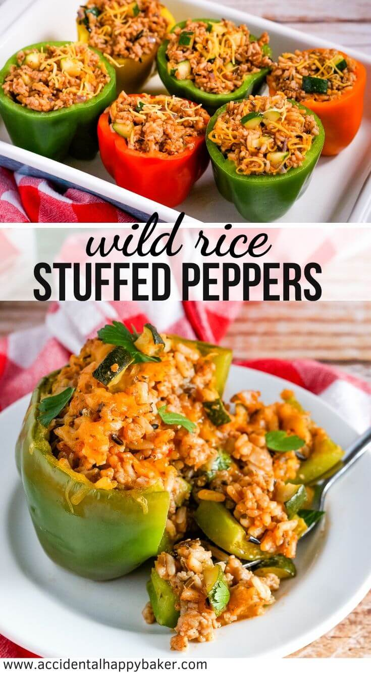 Wild rice stuffed bell peppers take wild rice mix, sausage, bell peppers and veggies and turn it into a colorful and fresh main dish. #stuffedbellpeppers #wildrice #maindishrecipe #accidentalhappybaker