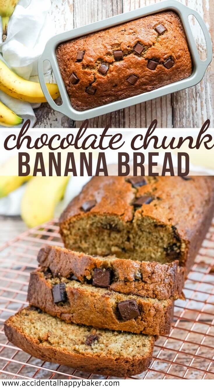 You are going to fall in love with how delicious and easy this chocolate chunk banana bread is! Only one bowl to wash. No special tools required. And a loaf of moist and sweet banana bread studded with chocolate chunks in around one hour!