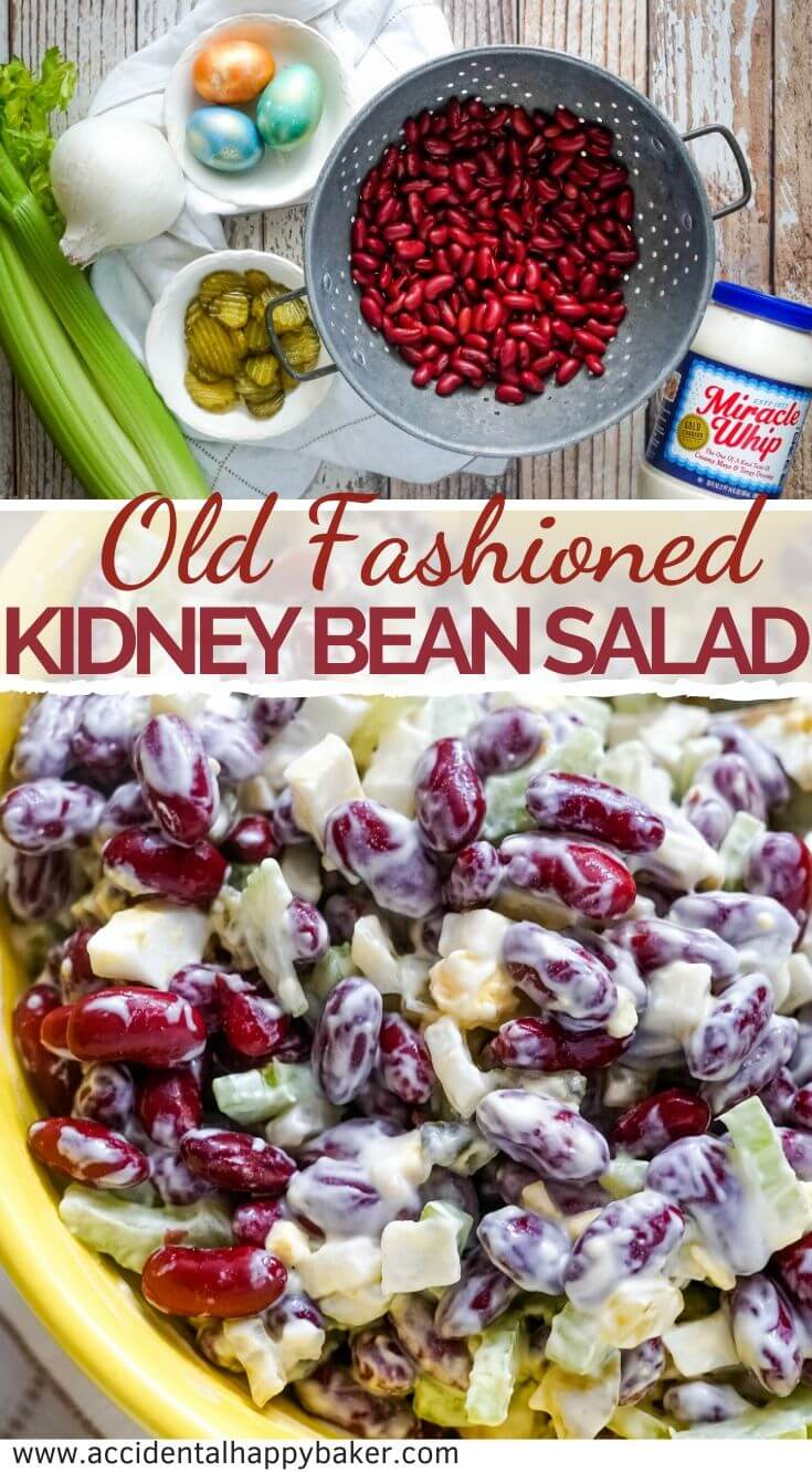 Colorful, crunchy and fresh, this deliciously easy Old Fashioned Kidney Bean Salad makes a perfect cold side dish and takes just a few minutes to make. #beansalad #kidneybeansalad #accidentalhappybaker