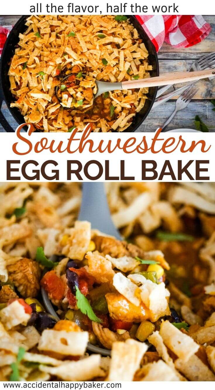 All the taste of Southwestern Egg Rolls with a fraction of the work! This easy main dish casserole is a play on one of my favorite appetizers, the Southwestern Egg Roll.