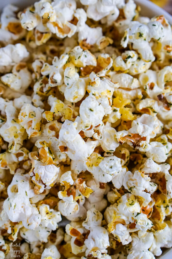 A close up image that shows the textures and seasonings on the popcorn kernels.
