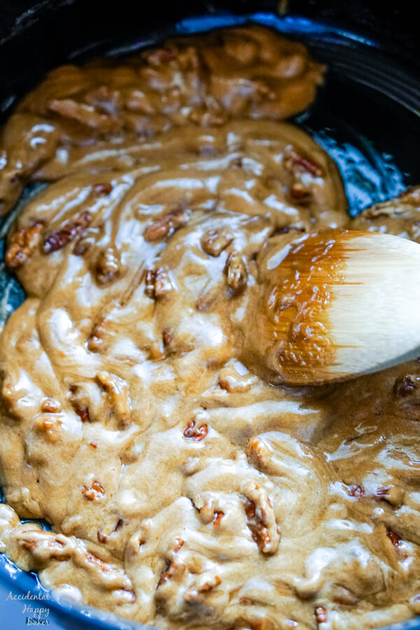 A close up image that shows the texture of the caramel after the baking soda and salt are added.