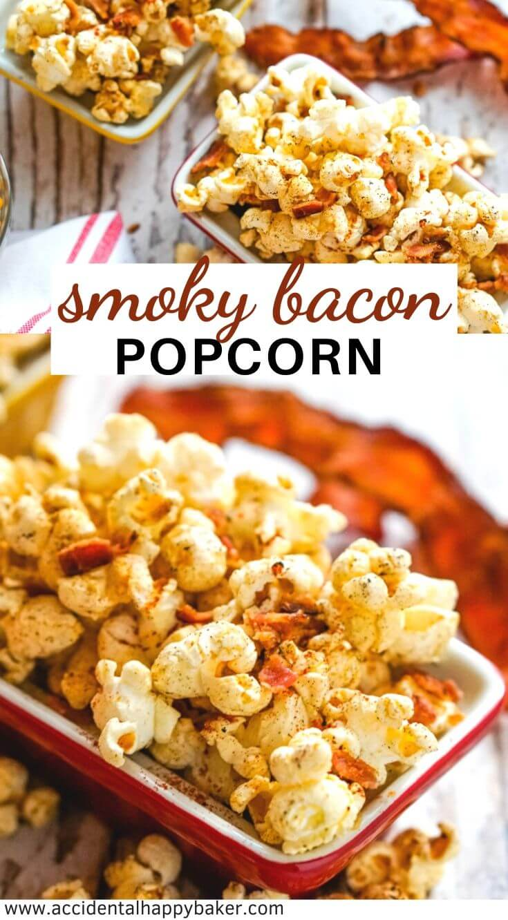 Salty and smoky popcorn with pieces of crispy bacon mixed in makes the perfect snack. Bacon + Popcorn. What's not to love? #smokybaconpopcorn