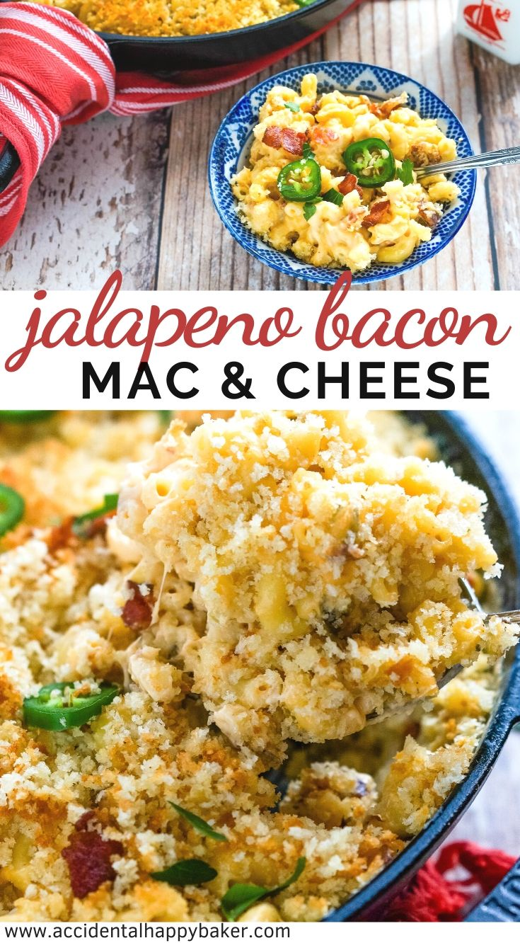 Jalapeno Bacon Mac and Cheese is creamy and cheesy, with spicy jalapenos and crispy bacon! A one pot dish that starts on the stove and finishes in the oven.