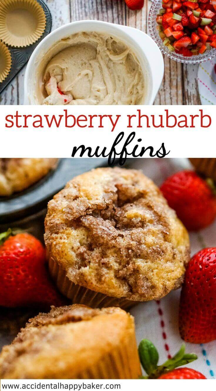Sweet with a hint of tart, light and fluffy strawberry rhubarb muffins studded with bits of fresh strawberry and rhubarb and topped with a cinnamon struesel.