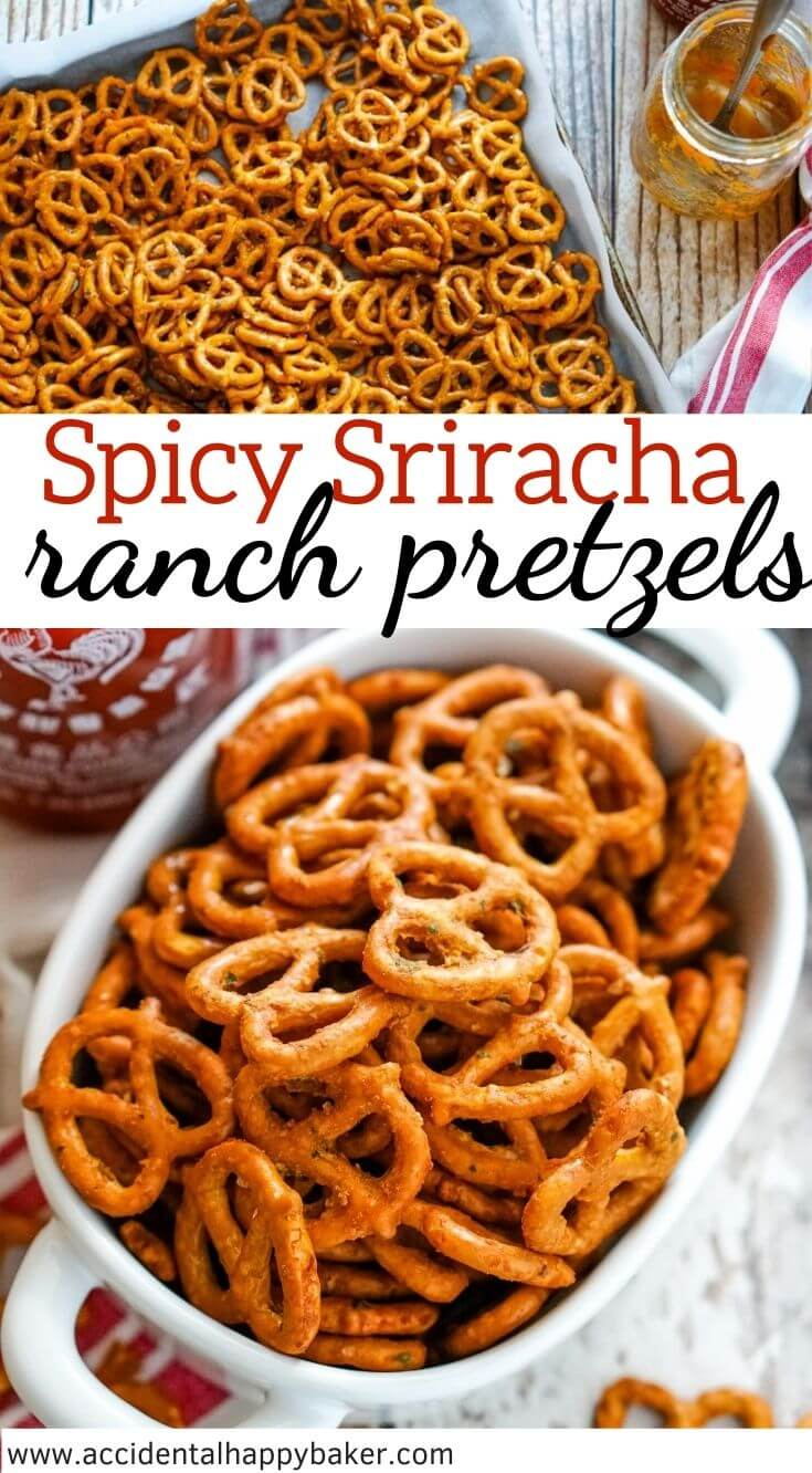 Crunchy, spicy and delicious pretzels baked in homemade sriracha and ranch seasoning.