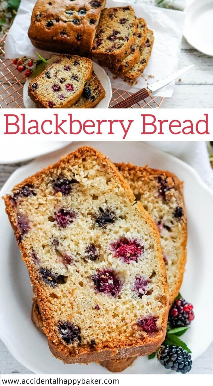 This one bowl blackberry quick bread recipe yields a loaf of sweet bread studded with berries and bursting with blackberry flavor.