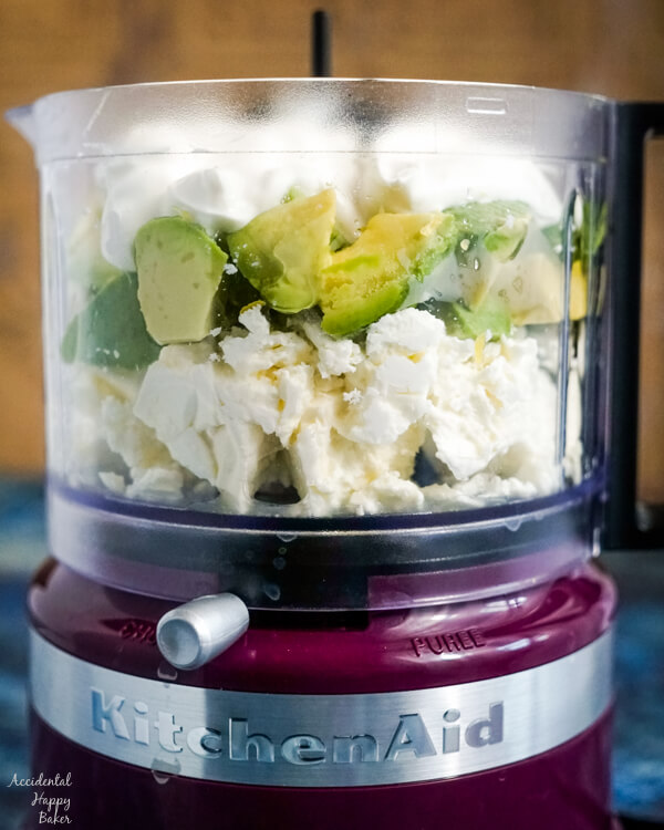 All the ingredients are added to the food processor.