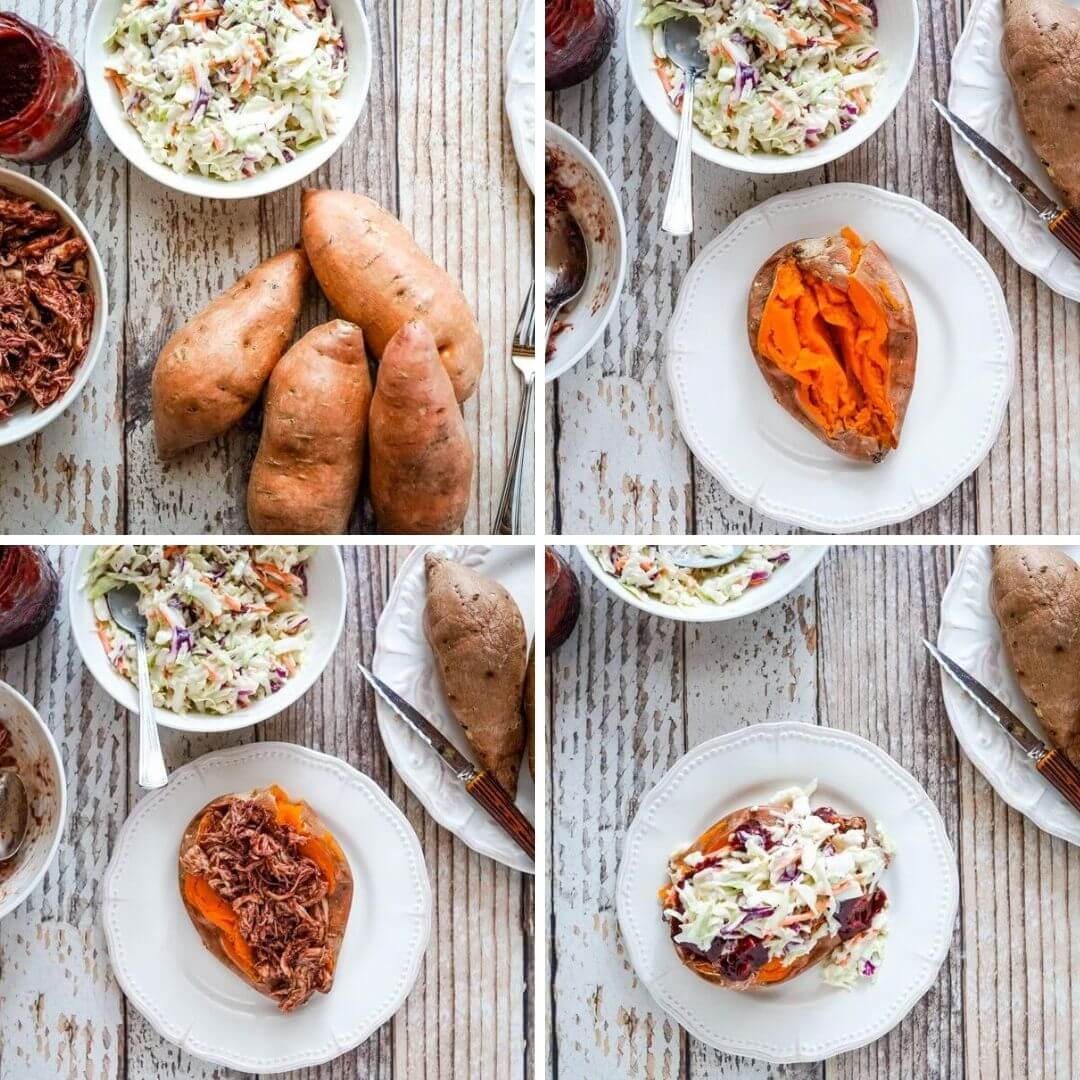 An image collage that shows the steps of stuffing the sweet potatoes.
