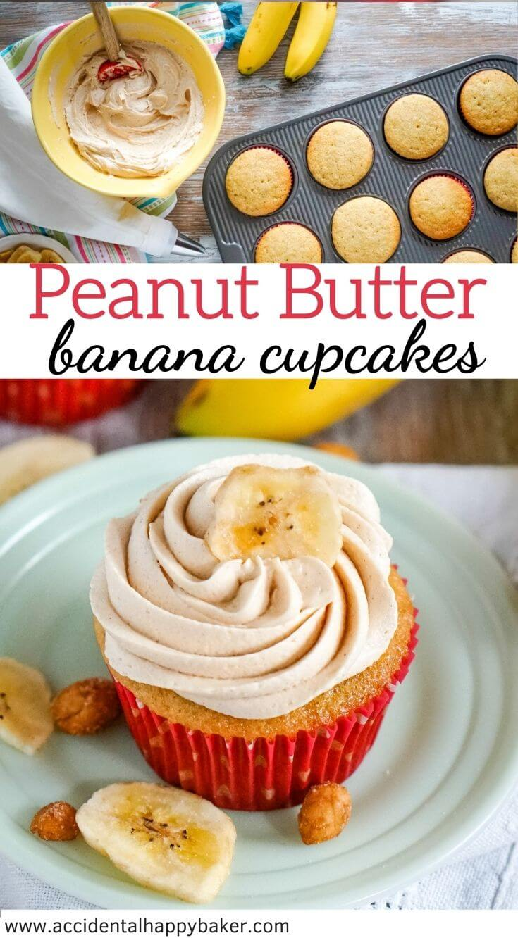 Soft and fluffy banana cupcakes capture everything you love about banana bread and then take it over the top with the addition of creamy and smooth peanut butter frosting.