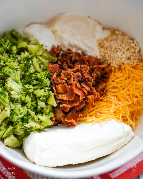 A mixing bowl full of the ingredients needed.